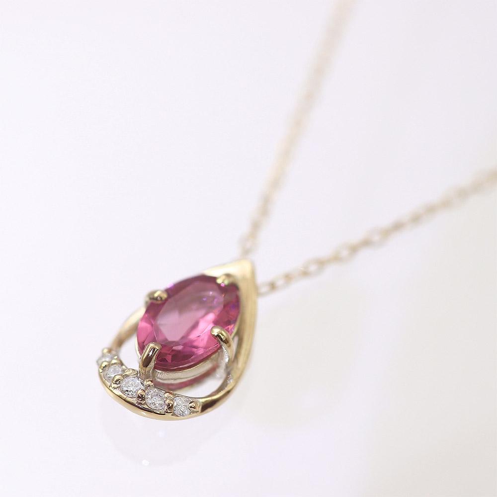 ピンクトルマリン&ダイヤモンドネックレス